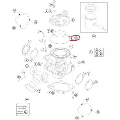 Ktm sx 50 Zylinderkopfdichtung gross 78,00x2,00